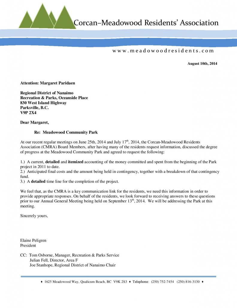 CMRA Letter to RDN regarding Meadowood Community Park - Amended Aug. 10th, 2014-page-001